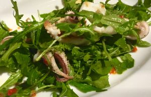 Grilled squid with chili and rocket