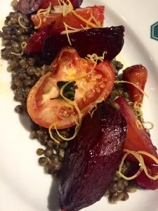 Roast tomatoes and beetroots, lentils, pickled garlic, and lemon
