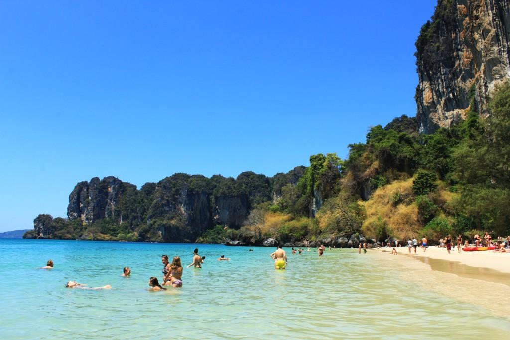 Soaking Up The Sun On Railay Beach: Krabi/Aonang, Thailand